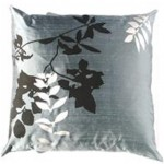 Leaf Print Pillow - Blue
